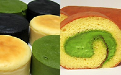 29A025 濃チーズケーキと宇治抹茶ロールケーキ「若草衣」
