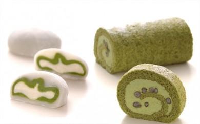 [№5809-0021]濃い抹茶ロールケーキと生クリーム大福のセット