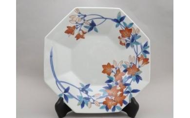 H084色絵つつじ文八角飾り皿 タテ付