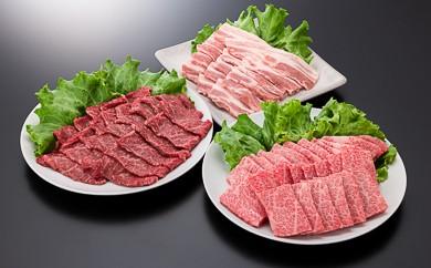4-(5)【A4ランク以上】山形牛カルビ&モモ&豚バラ焼肉セット(計1300g)