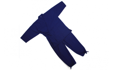 H002 藍染 作務衣(M・L) 【M】