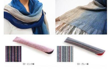 002-023 阿波正藍染 麻綿ストールと阿波しじら織 箸入のセット