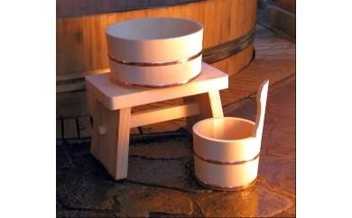番号:38 木曽ひのき湯桶・手桶・椅子 3点セット