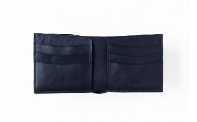 032-001 本藍染イタリアンレザーの折財布