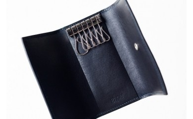 014-007 本藍染イタリアンレザーのキーケース