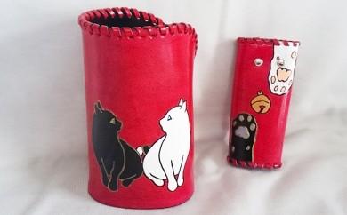[№5641-0152]メガネ立て・キーケースセット(2匹の猫と肉球)