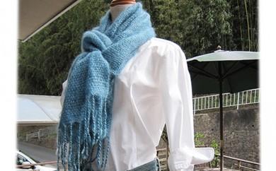 [№5811-0026]草木染め手織りモヘアストール(藍染め)
