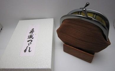 [№5811-0007]手織りつづれ がま口(柿しぶ染め)