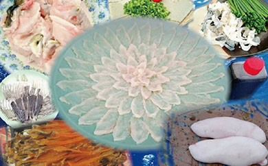 BG01 白子付き国産活トラフグの刺身(4人前)33㎝陶器皿付と干しきぬ貝50g【65000pt】