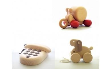 P7 木のおもちゃ「カタツムリ・プッシュホン・子犬」