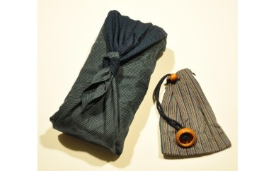 【E02】伝統工芸品 唐棧織(とうざんおり) 風呂敷セット