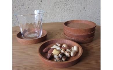 [№4631-0857]山桜の木で作った手作り豆皿コースター