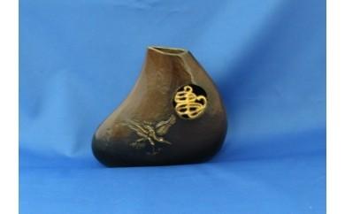 E09 花器 栄華(鶴亀):高岡銅器