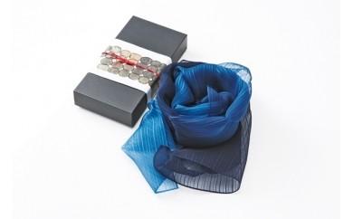 D005 藍染シルクスカーフ(M)グラデーション