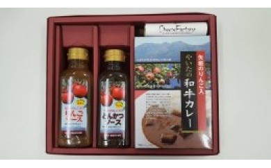 【H012】矢板のりんご入り和牛カレー&ソースセット【45pt】