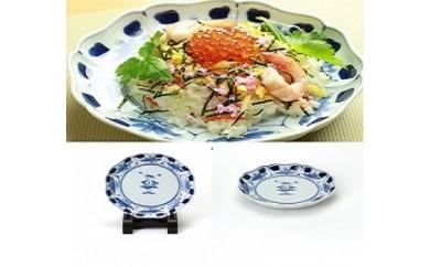 有田焼 青花 花と人形 八方割6寸皿