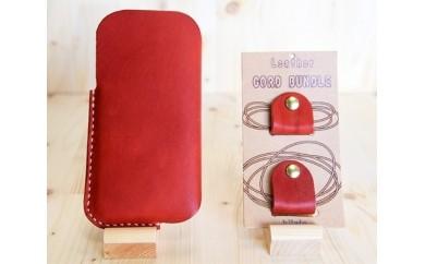 No.118 iPhone(5.5s.SE対応)ケース(赤)&コードバンドルS、Mセット(赤)【20pt】