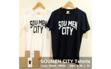 NU39 さりげなく個性をアピール出来るSOUMEN CITY  Tシャツ【白・Mサイズ】【50pt】