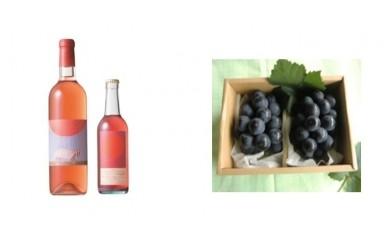 B-32 安心院*小さなワイン工房ワイン(ロゼ・マスカットベリーA)&ぶどう16【季節限定】