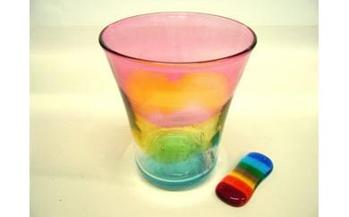西伊豆手づくりガラス「夕陽グラス&虹色はし置き」