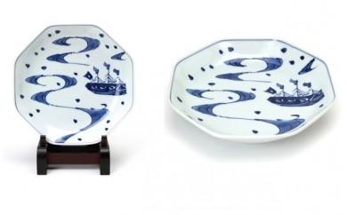 有田焼 青花 オランダキャピタン(オランダ船2号) 正八角7寸皿2枚セット