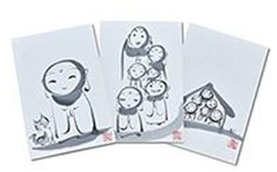 [№5641-0040]手描き墨絵葉書3枚セット