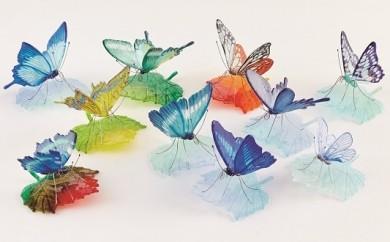 J011ガラスの蝶onリーフとりどり