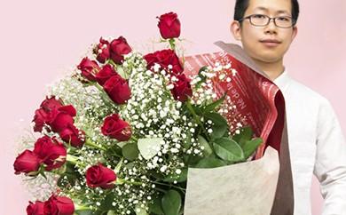 [№5691-0139]赤バラの花束 21本「あなただけに尽くします」