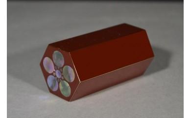 DB29 文鎮 寸寸六方螺鈿入(朱)梅鉢(紙箱):高岡銅器