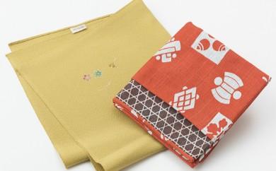 [№5862-0058]友禅ワンポイントシルク&和柄木綿小風呂敷セット