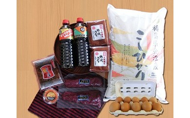 1-O 会津馬刺しロース、米、卵、醤油セット