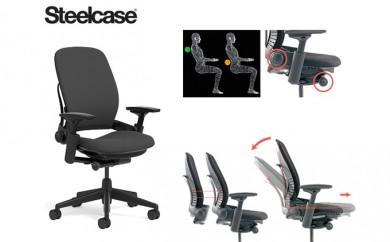 [№5809-0383]スチールケース リープチェア オフィスチェア 椅子 ブラックフレーム 3Dニットタイプ シートカラー:座エボニー 背ブラック