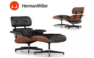 [№5809-0388]ハーマンミラー イームズラウンジチェア&オットマン 椅子 シェル:ウォールナット/張地:皮革(ブラック)