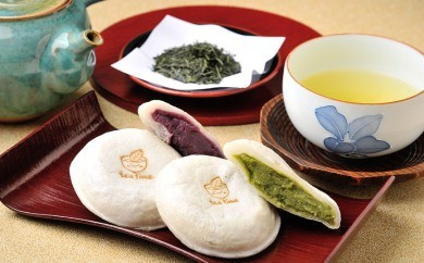 BC04 老舗お茶専門店の焼きもち(11種・35個)と特上煎茶3本(100g×3本)セット【125pt】