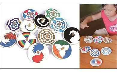 018-004「木のおもちゃ」色遊び独楽(コマ)12種類(日本グッドトイ受賞玩具)
