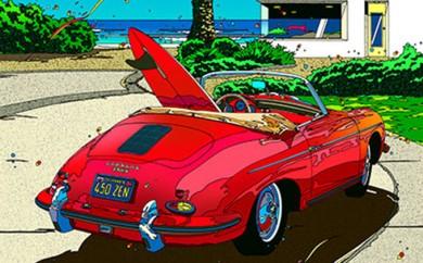 [№5875-0096]鈴木英人版画「ローズレッド ロードスター2」フレーム付き