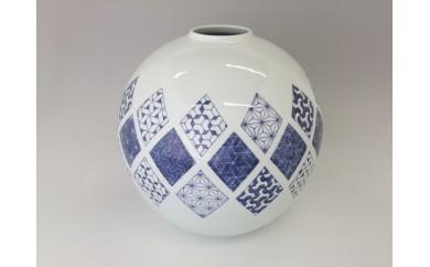 A400-10 伝統工芸士 橋口博之作(しん窯)麻の葉づくし 丸壷