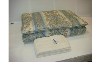 D-38 ウールマーク2層式羊毛敷ふとん+マイヤー織タオルシーツ(ブルー)