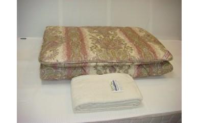 D-32 ウールマーク2層式羊毛敷ふとん+マイヤー織タオルシーツ(ピンク)