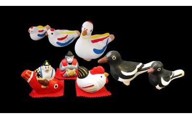 尾崎人形 鳩笛、鳥人形と福人形セット