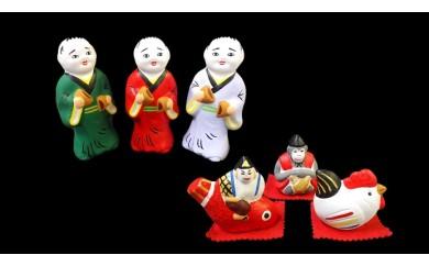 尾崎人形 饅頭割り人形3体と福人形セット
