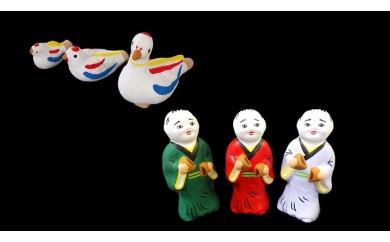 尾崎人形 鳩笛、水鳥、スズメと饅頭割り人形3体セット