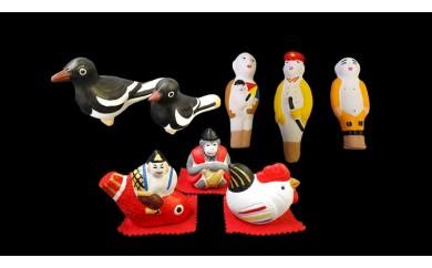 尾崎人形 カチガラス親子、人型人形と福人形セット