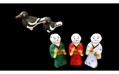 尾崎人形 饅頭割り人形3体とカチガラス親子セット