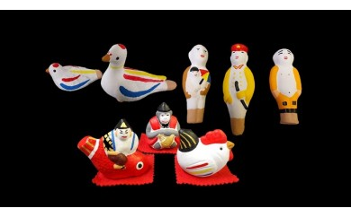 尾崎人形 鳩笛、人型人形と福人形セット