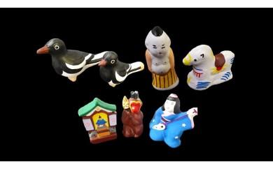 尾崎人形 カチガラス親子、堂内天神、お猿さん、 三味線弾き、相撲取り、波乗り馬セット
