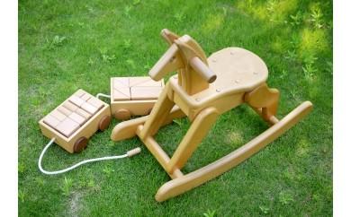 17507.飛鳥の木馬×積み木の引き車