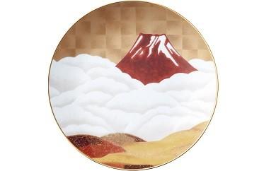 "L-3 悠久の富士・赤富士27.5cm額皿 ""赤富士"""