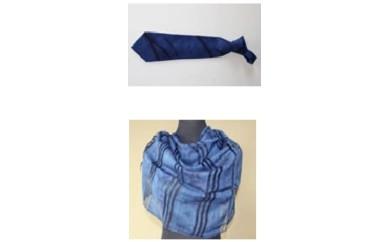 N-1 本藍染絞りネクタイと本藍染ストール(花柄)のセット