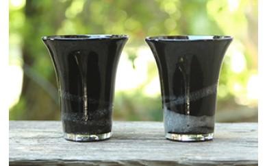 琉球ガラス 一口ビアグラス泡ライン(黒)2個セット